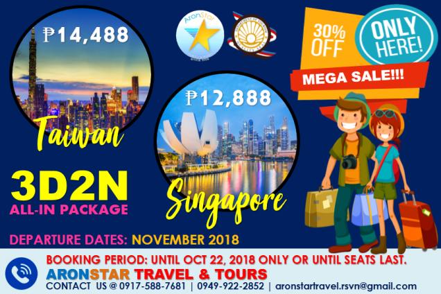 Singapore - taiwan promo oct 22